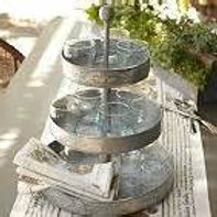 Three-Tier Galvanized Tin Stand
