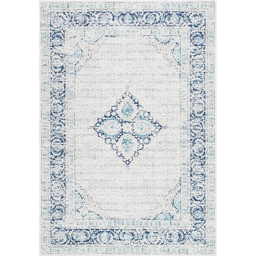 Light Blue Medallion Wool Rug