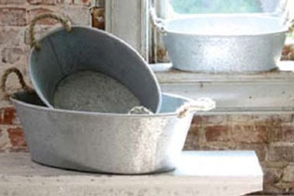 Table Top Oval Tub With Rope Handles