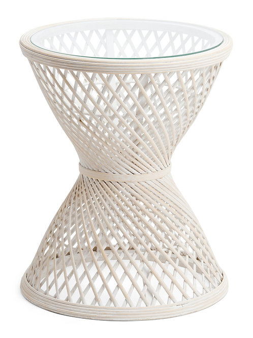 White Rattan Side Table with Glass Top