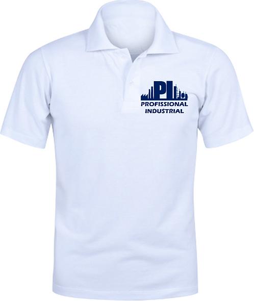 Camisa Polo Branca Logo Azul