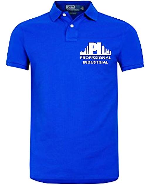 Camisa Polo Azul Logo Branca