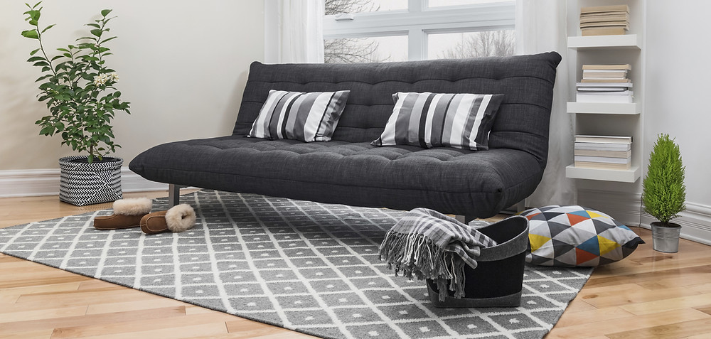 A black couch with two black and white pillows on a rug in a living room.