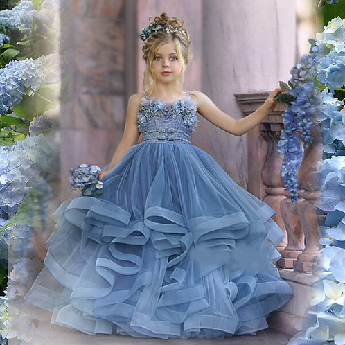 BLUE  HYDRANGEA EXQUISITE DRESS / Available in Blue