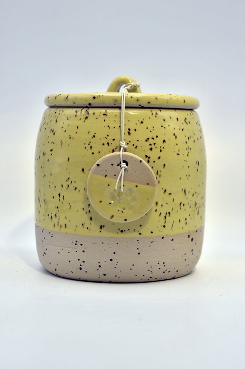 Gele spikkel urne met pootje
