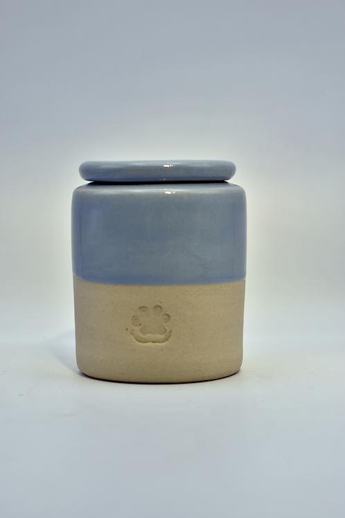 Blauwe kleine poot urne