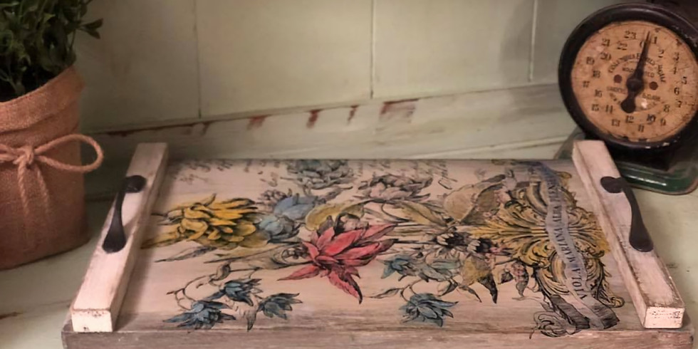 Iron Orchid Design Tray with Paintable Transfer