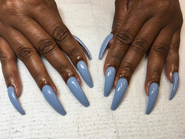 Long nails and blue polish 😍❤️ book Now ladies