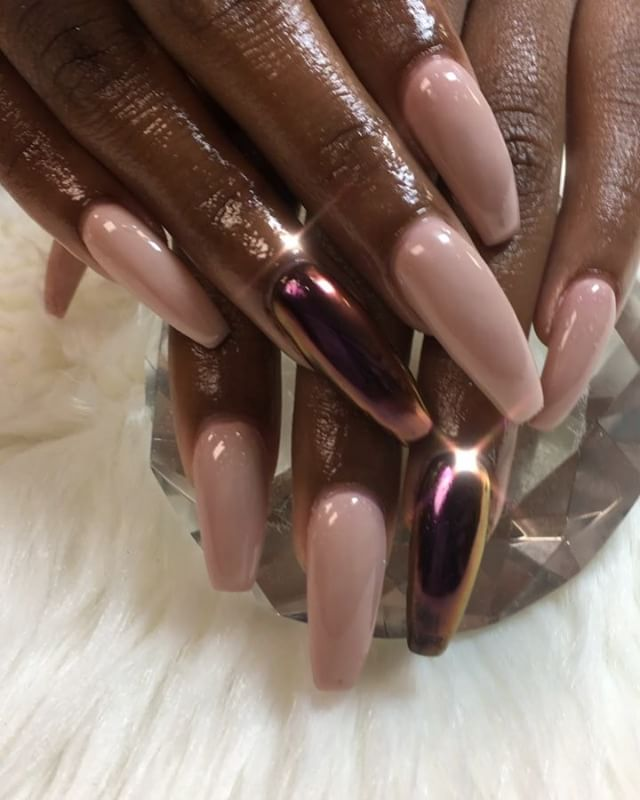 Pretty 😍😍😍 the use of nude is endless #classic now booking for June www.chicnailzz
