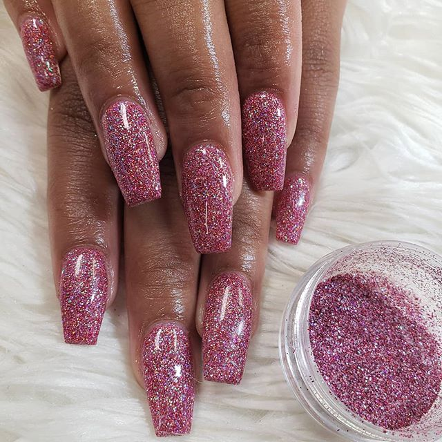 Custom color glitter all acrylic #nail #