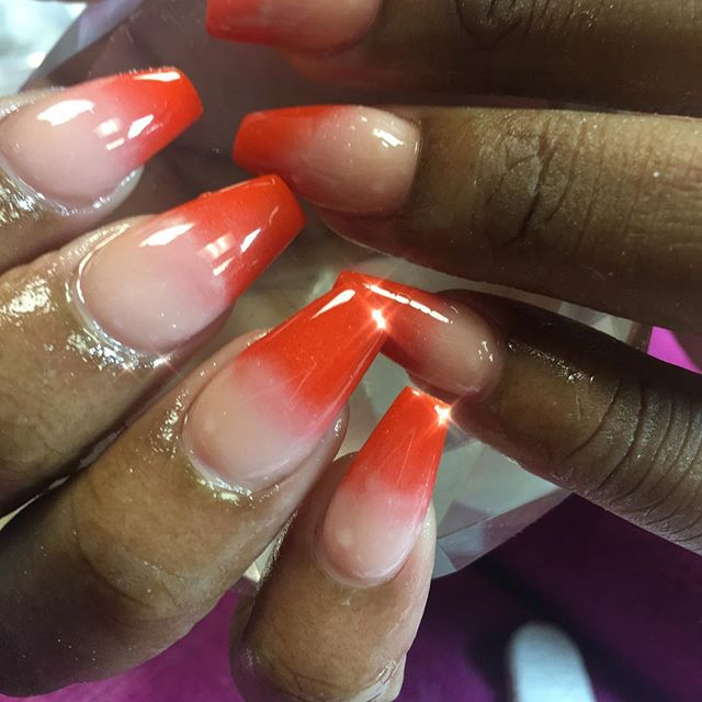 All acrylic custom orange acrylic #instaglam #nailstyle #classynails #classical #nailgram #nailsofin