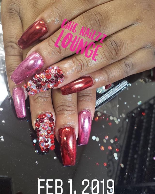 Pink & Red Chrome #instaglam #nails #nai
