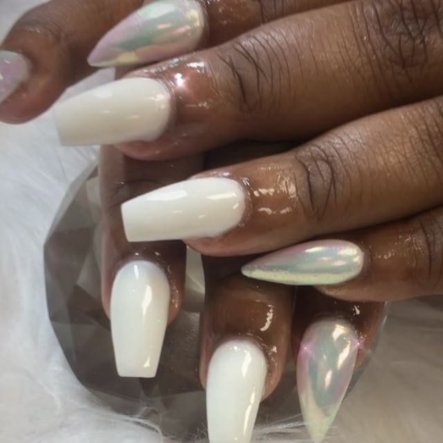 No polish all white acrylic she tried something new #instaglam #nailstyle #classynails #classical #n