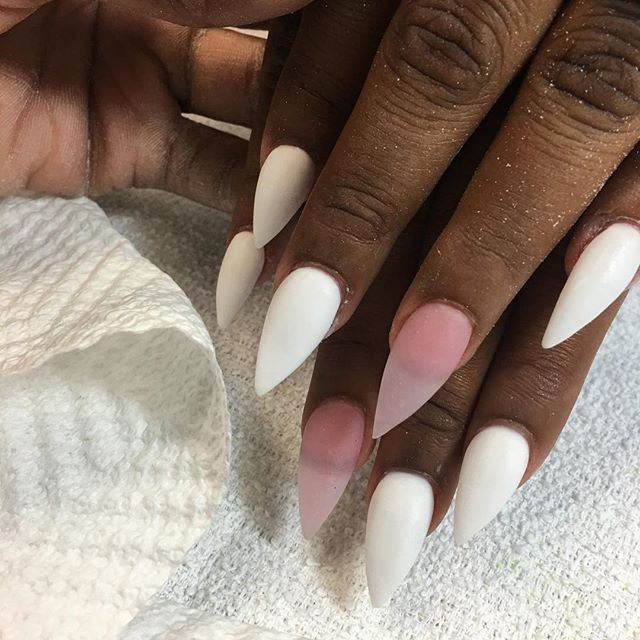 All white acrylic 💪🏽 #instaglam #nailstyle #classynails #classical #nailgram #nailsofinstagram #mi