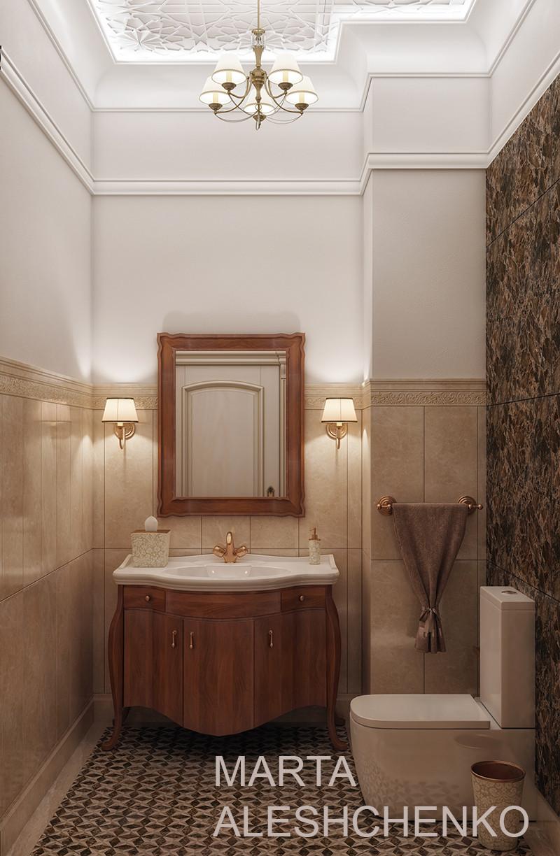 Дизайн гостевого санузла в классическом стиле