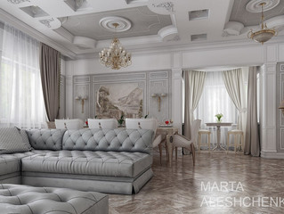 Дизайн-проект гостиной в классическом стиле, в нежных пастельных тонах.