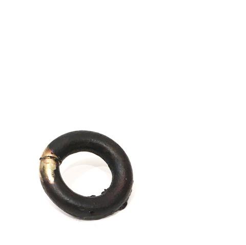 oxidized cast bronze, sterling silver, 9 carat gold, 2 x 2 x 1 cm, 15 grams