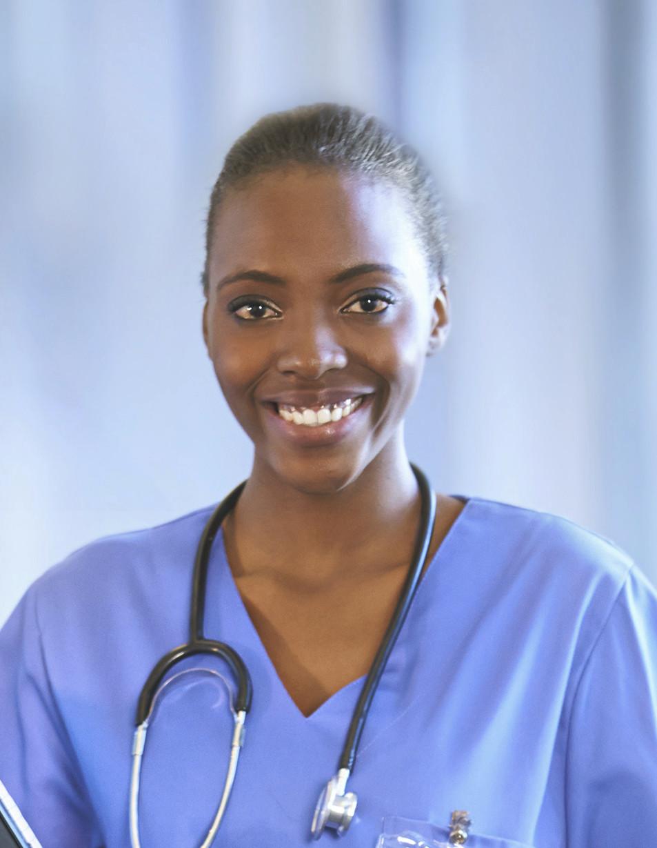 African-American doctor or nurse in blue scrubs.