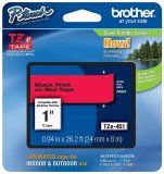 "Brother TZe451 24mm (0.94"") Black on Red tape for P-Touch 8m (26.2 ft)"