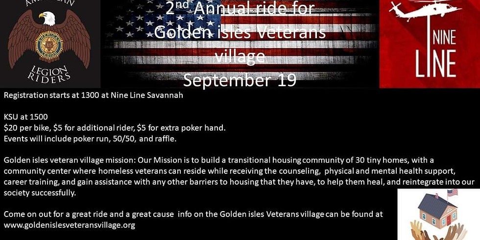 2nd Annual Benefit Ride for Golden Isles Veterans' Village Initiative