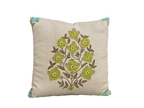 Cuscino decorativo con ricamo tessuto 100% lino
