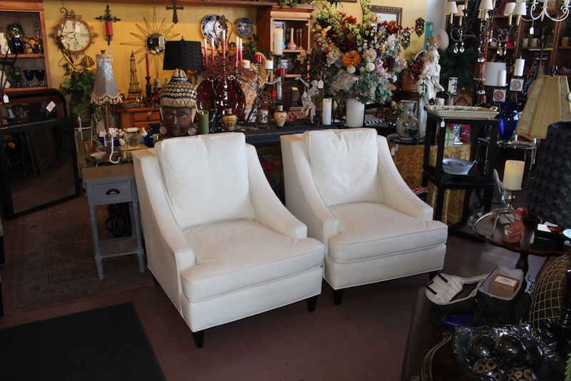 White Leather Century Chairs