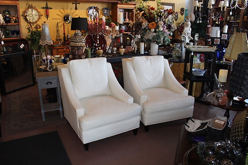 White Leather Century Chairs (sold as a set of two)