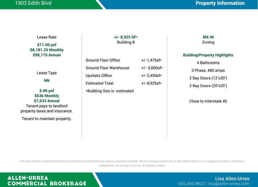 1903 Edith Blvd Lease Specifications