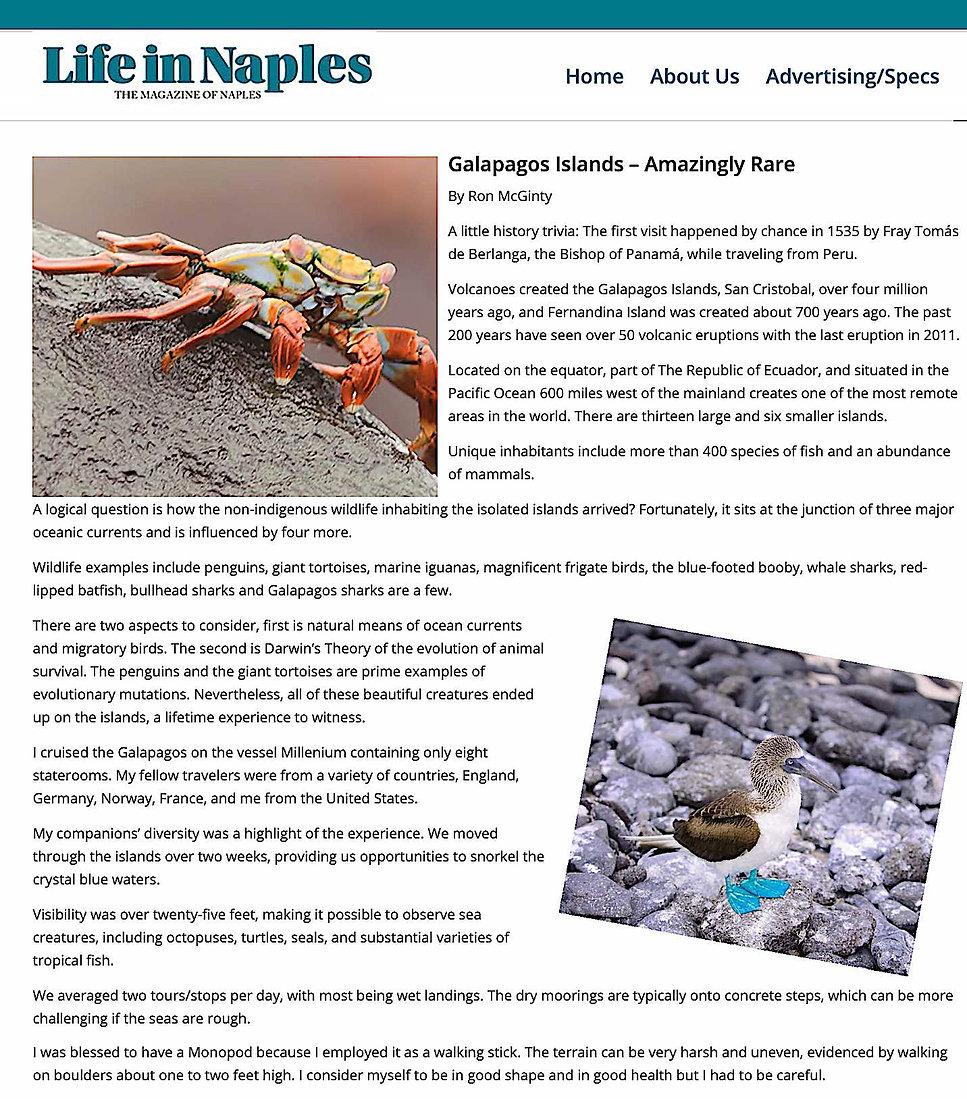 Galapogos Article Life in Naples Magazin