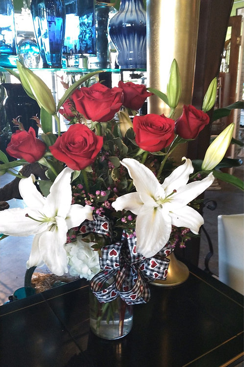 Arrangement of Red Roses, Lilies, and Hydrangea