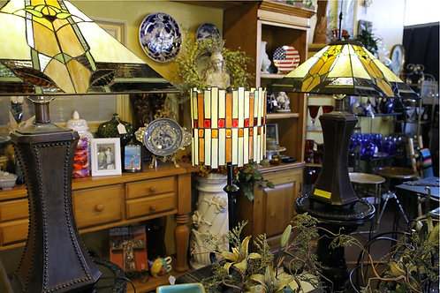 Two Matching Tiffany Style Lamps & One single Tiffany Style Lamp