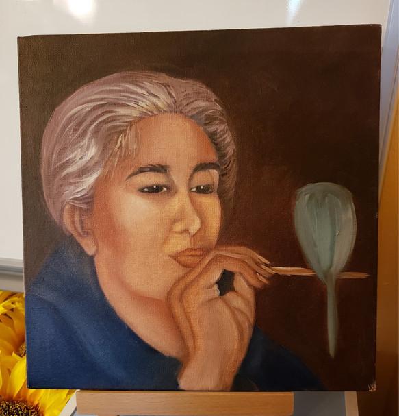 Bird Lady Oil Painting