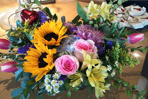 Arrangement of Hydrangea, Sunflowers, Roses, and Tulips