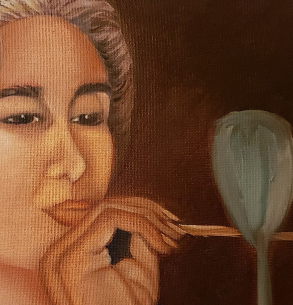 Bird Lady Oil Painting Details