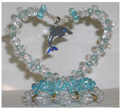 Beaded Heart with Dolphin Pendant