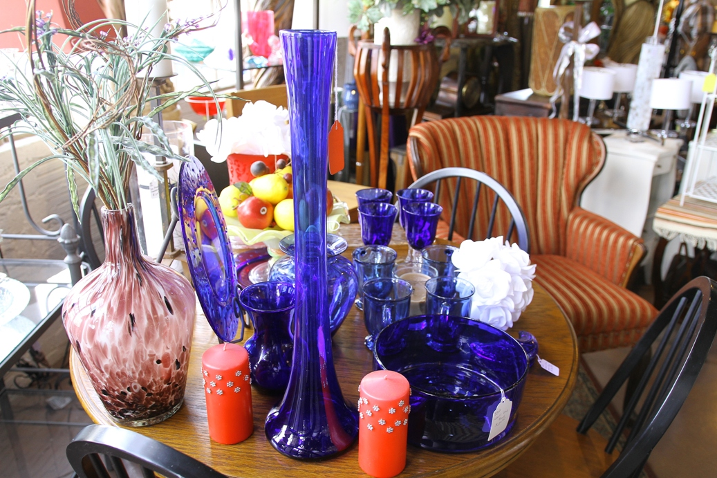 Variety-Blue Glass Vases and Dinnerware