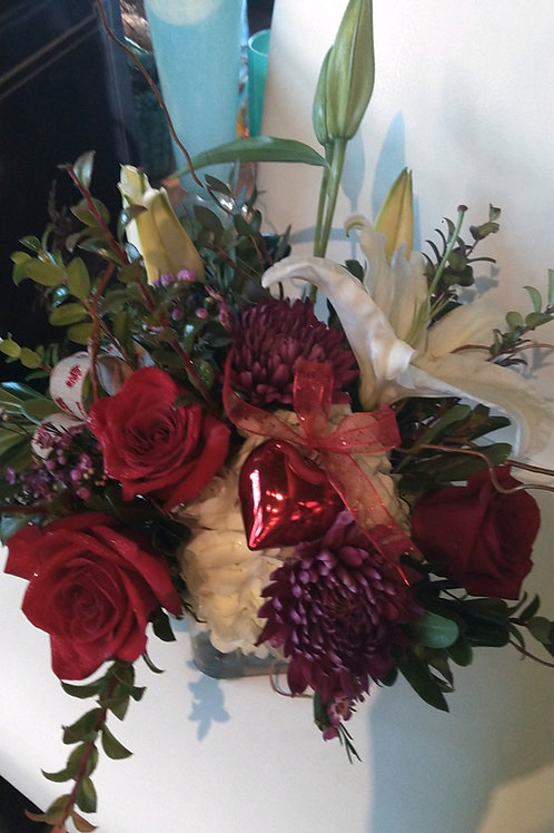 Arrangement 2 of Red Roses, Lilies, and Hydrangea