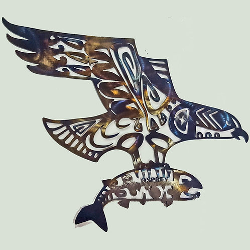 Metal Wall Art Osprey with Fish