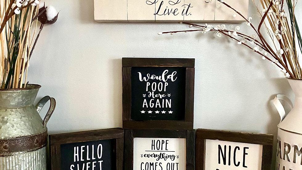 Funny Bathroom Signs (Choose 1)