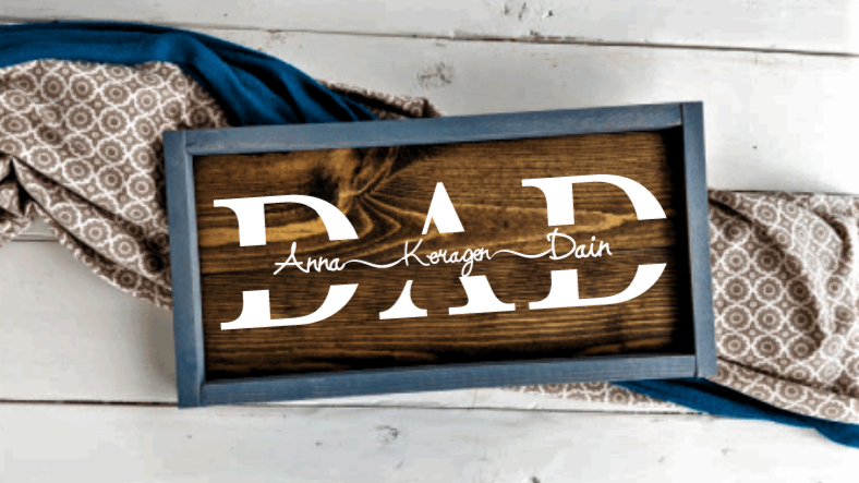 Personalized 'Dad' Wooden Sign