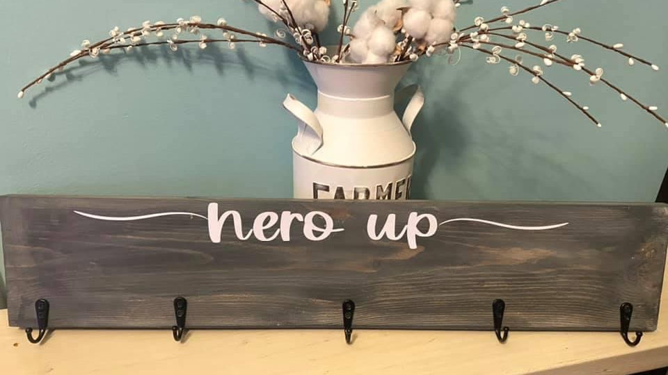 Hero Up Wooden Sign
