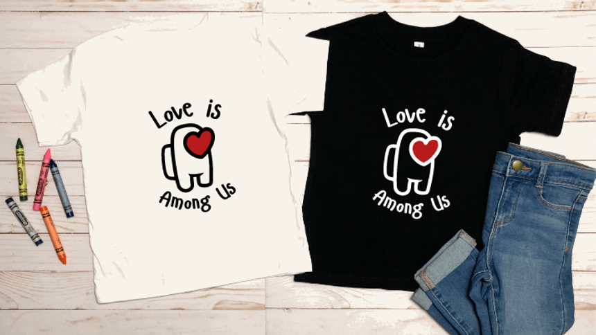 Among Us Inspired Valentines Day Youth T-Shirt