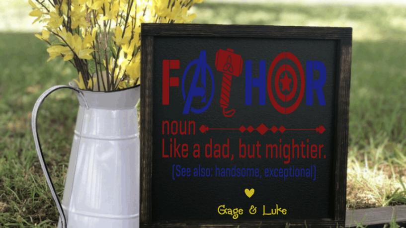 'Fathor' Superhero Wood Sign