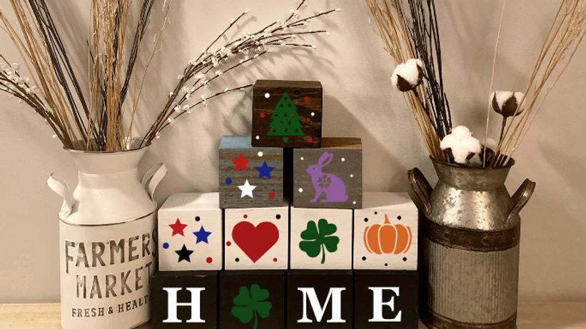 "'Home"" Block Seasonal Signs"