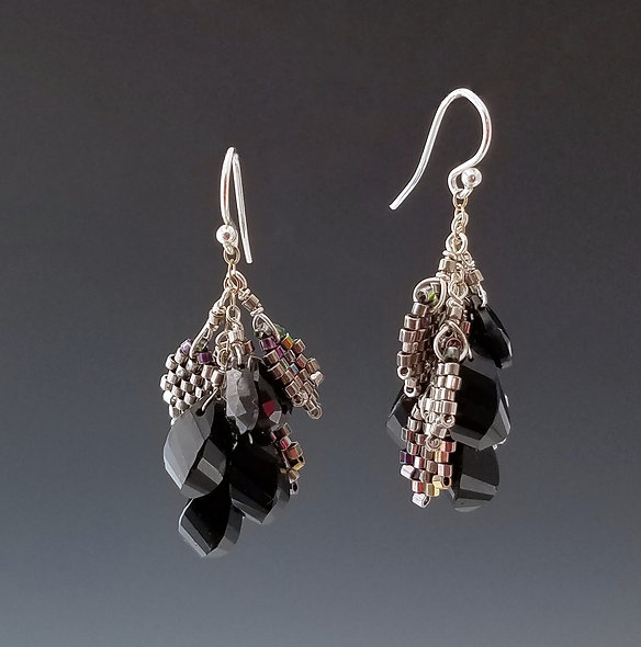 Black Magic Fruit and Leaves Earrings