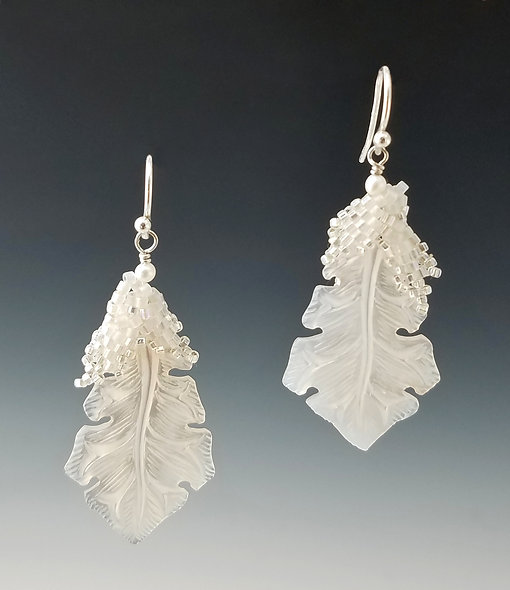 Carved MOP Oak Leaf Drops