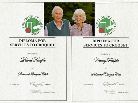 David & Nancy Temple Awarded a Croquet Association Diploma for Services to Croquet