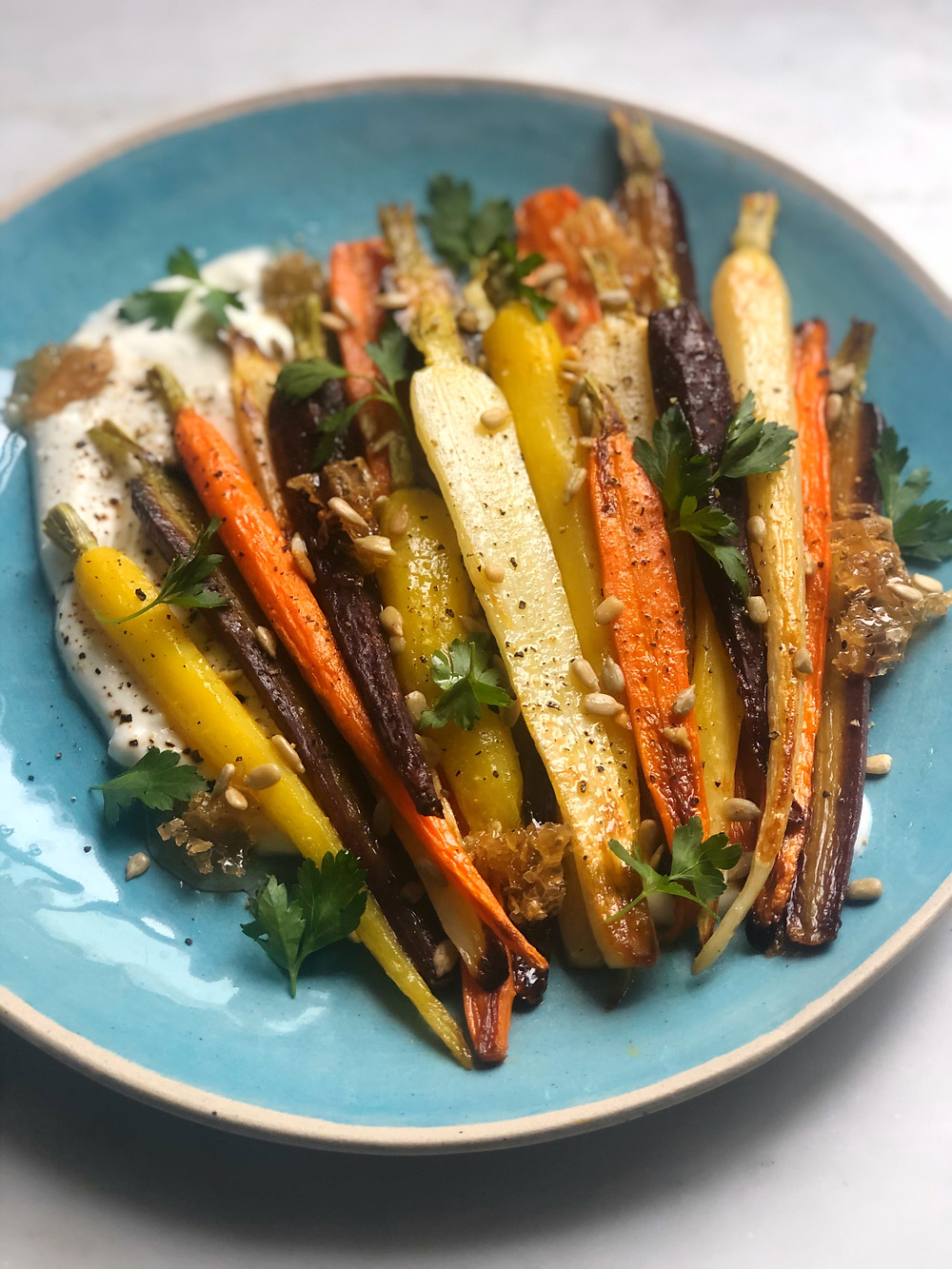 Roasted Rainbow Carrots with Whipped Feta, Honeycomb & Sunflower
