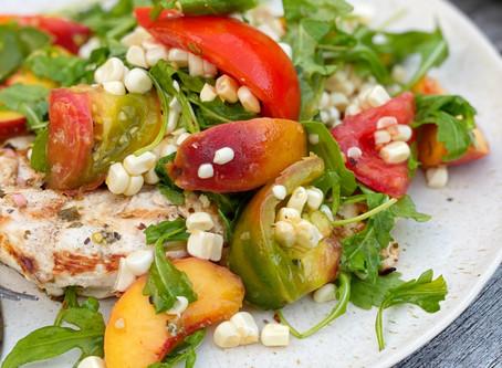 Chimichurri Chicken Paillard with End-of-Summer Salad