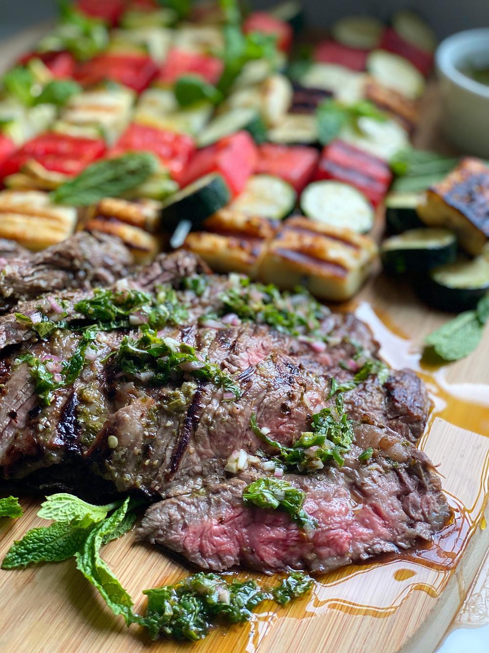 Grilled Mint Chimichurri Skirt Steak  & Skewers of Watermelon, Zucchini & Halloumi